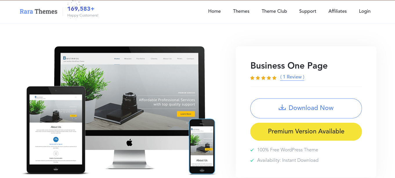 Business One Page word press theme