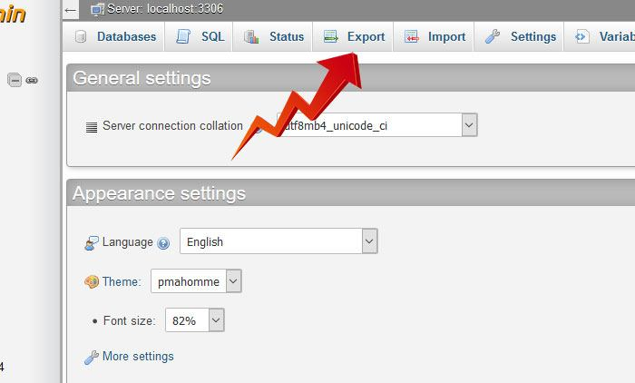 export your database