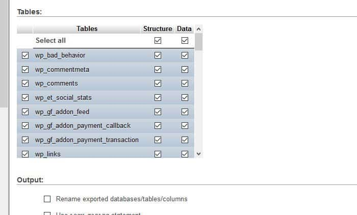 Select all database tables