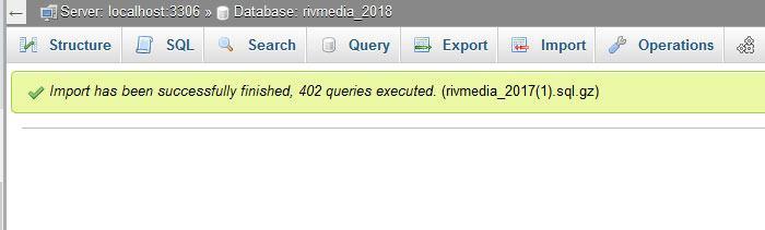 Successful Database import yay