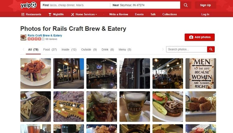 Yelp Business listings For food establishments