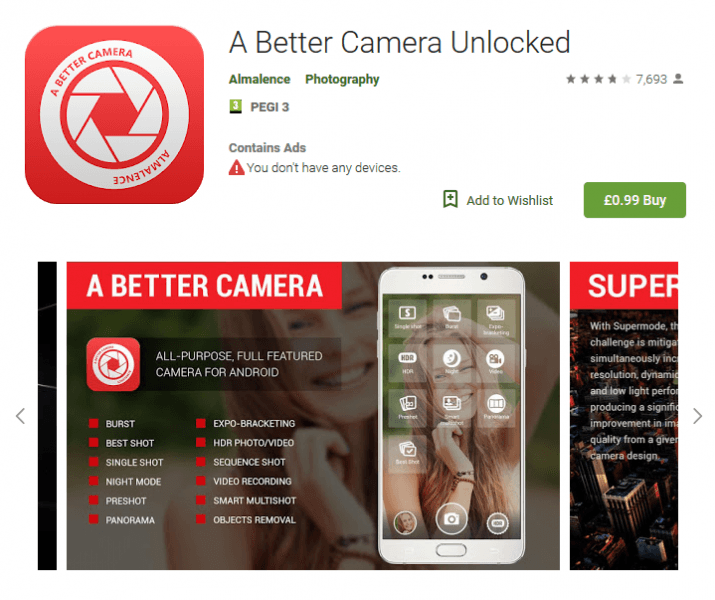 A Better Camera Andriod App