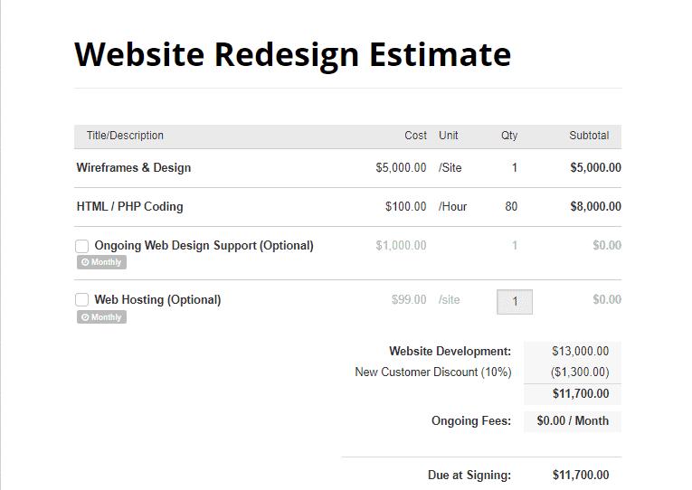 web design estimate